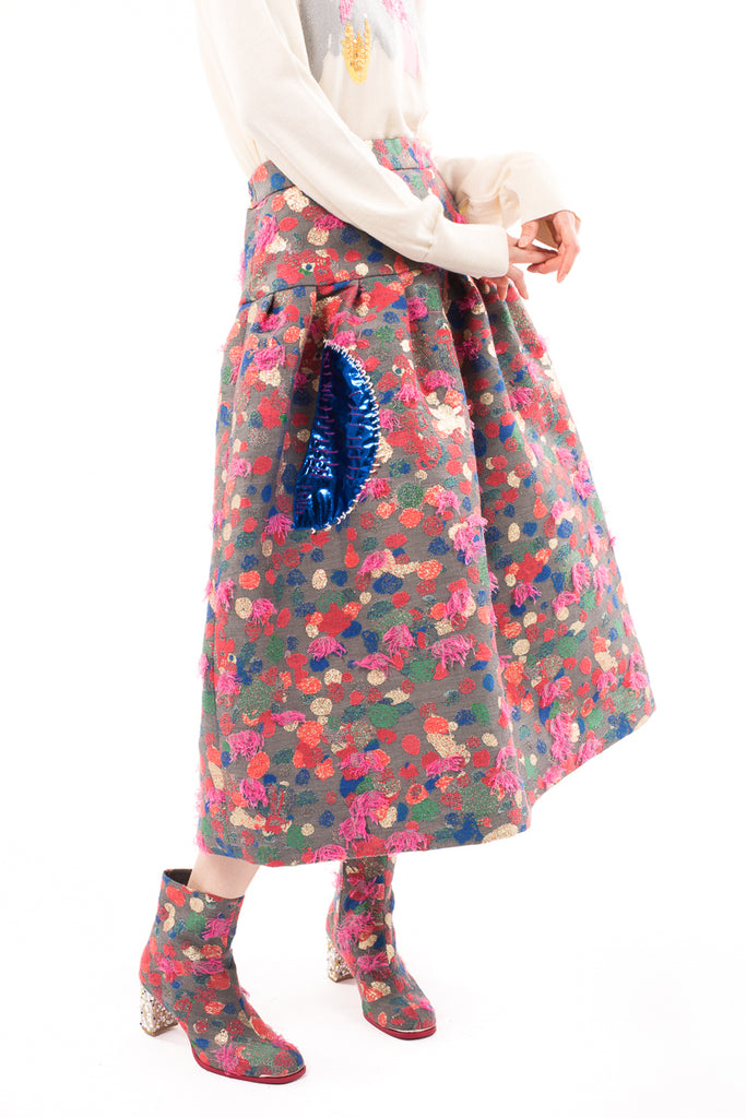 Colorful Dot Jacquard Skirt