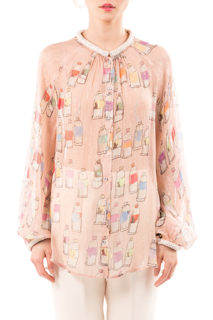 Colorful Tube Lame Crepe Shirt