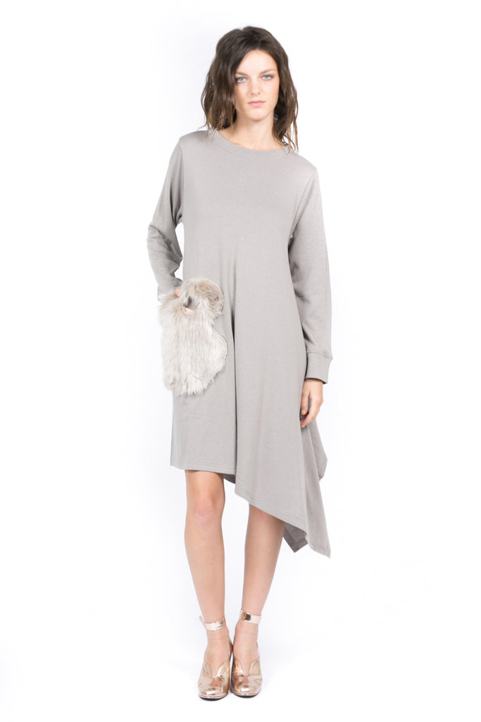 Faux Fur Sweatshirt Dress