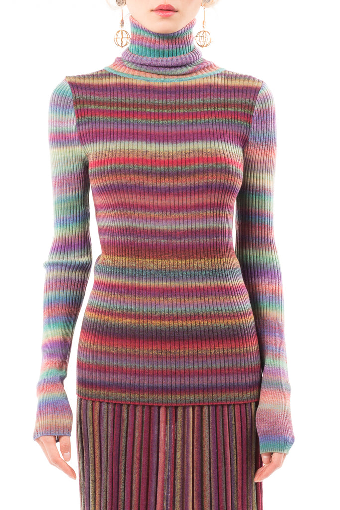 Gradient Roll Neck Knit Sweater