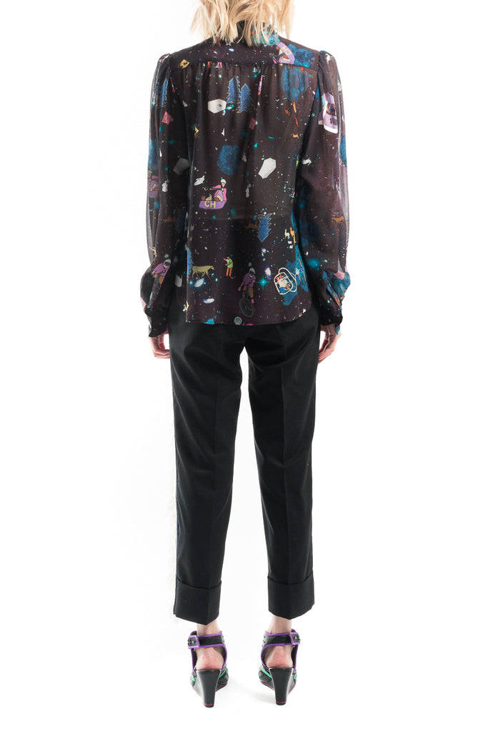"""Attraction Map"" Silk Shirt"