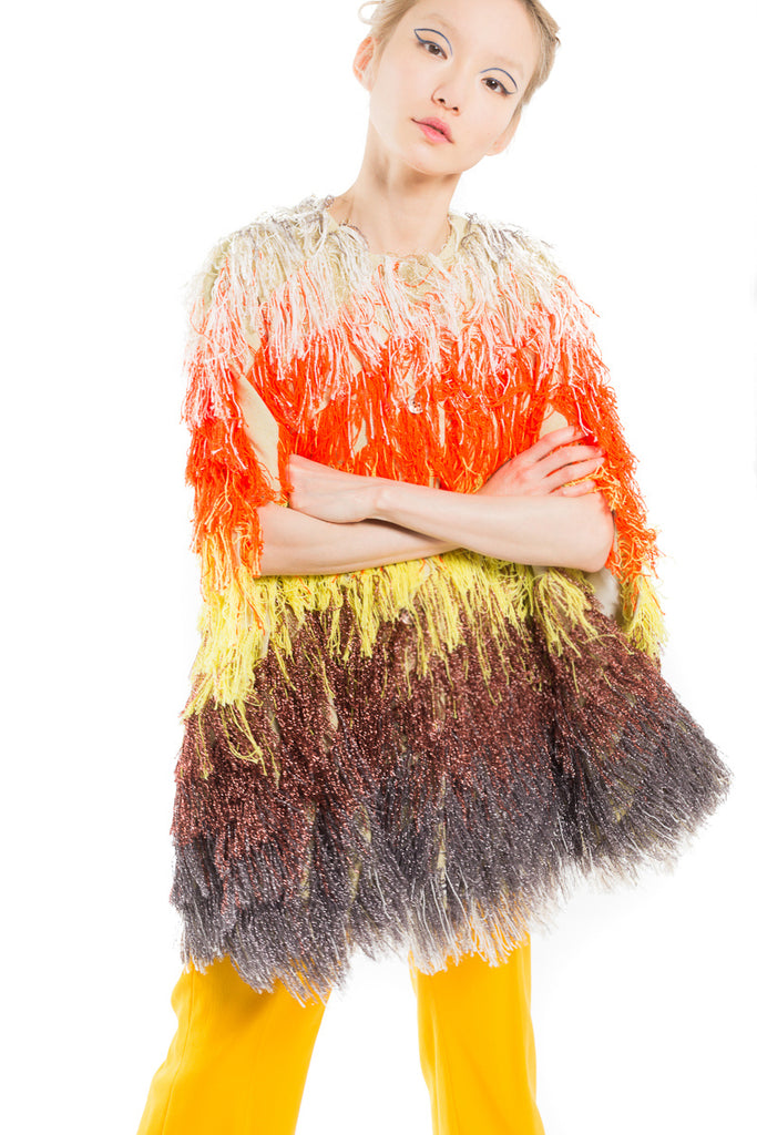 """Tropical Fringe"" Jacquard Cape"