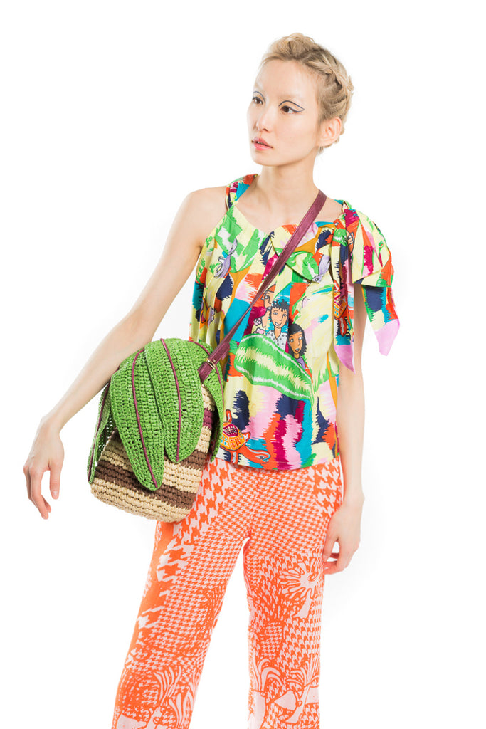 """Colorful Green Print"" Knotted Top"