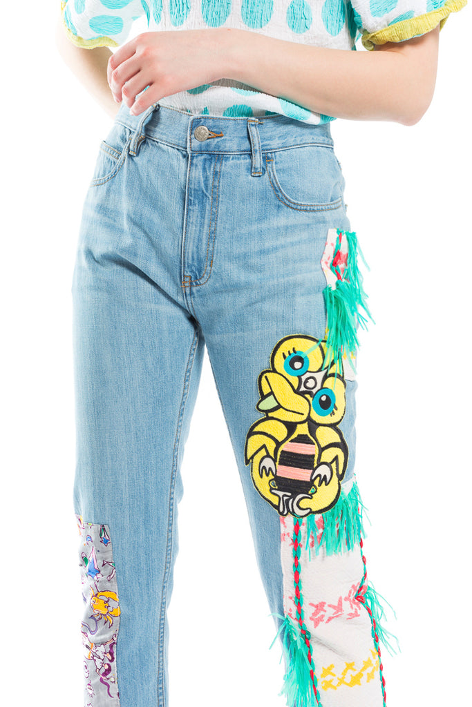 Patch Denim Pants