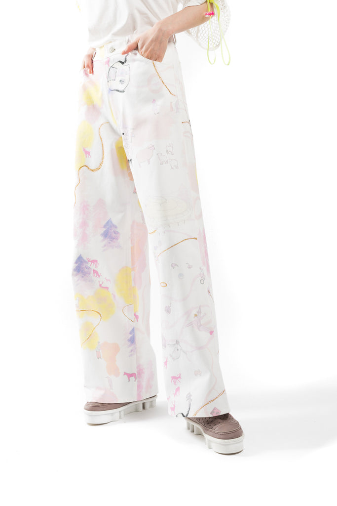 Painted White Denim Pants