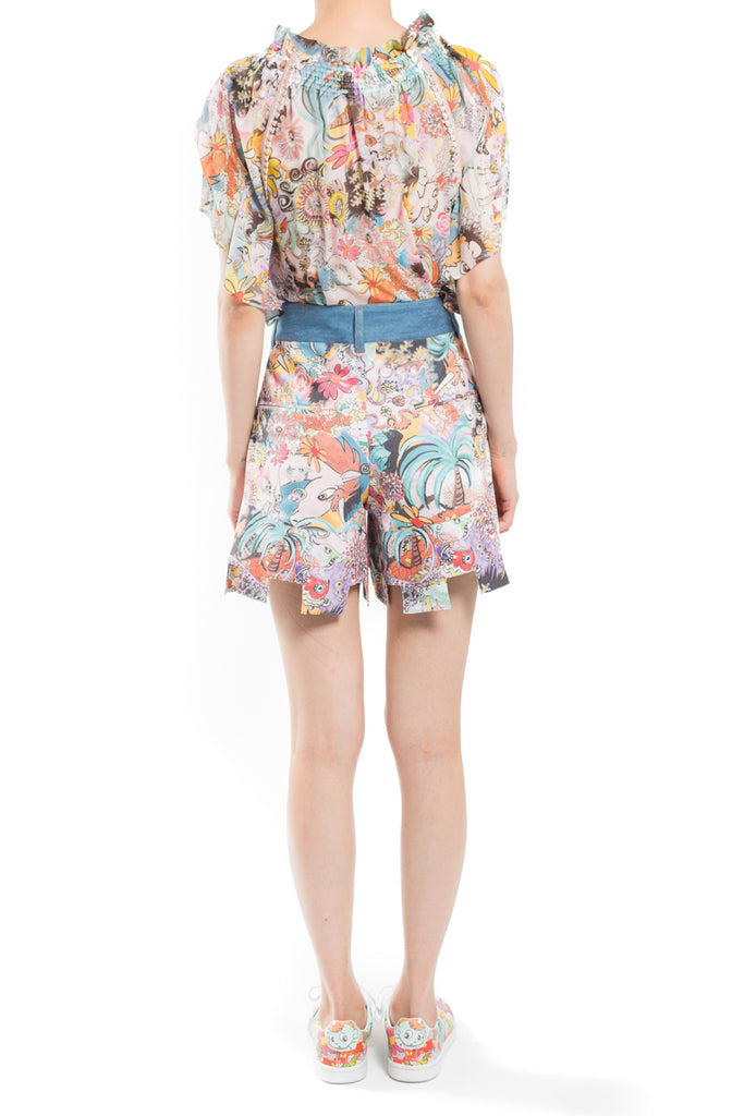 """Tropical Unico"" Denim Shorts"