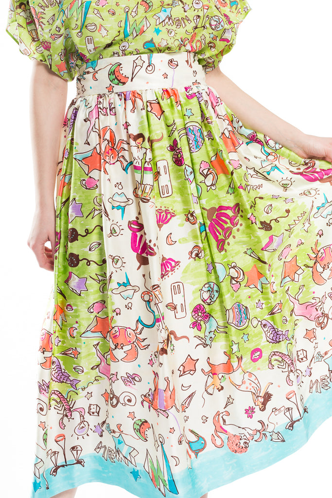 """New Horoscope"" Silk Skirt"