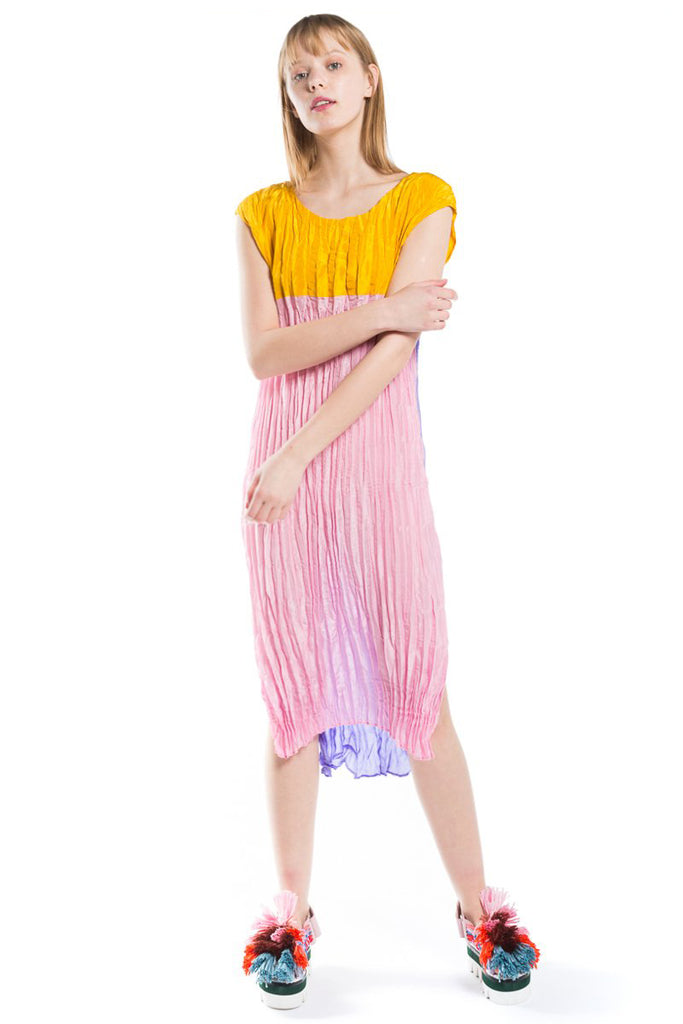 """Heat Set Pleated"" Silk Dress"