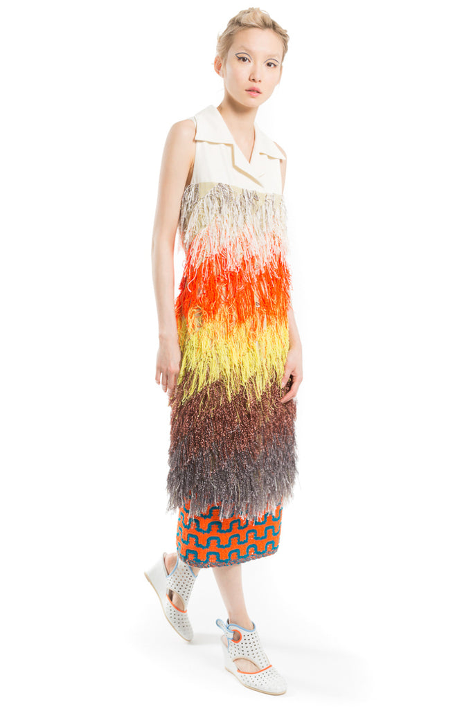 """Tropical Fringe"" Jacquard Sleeveless Coat"