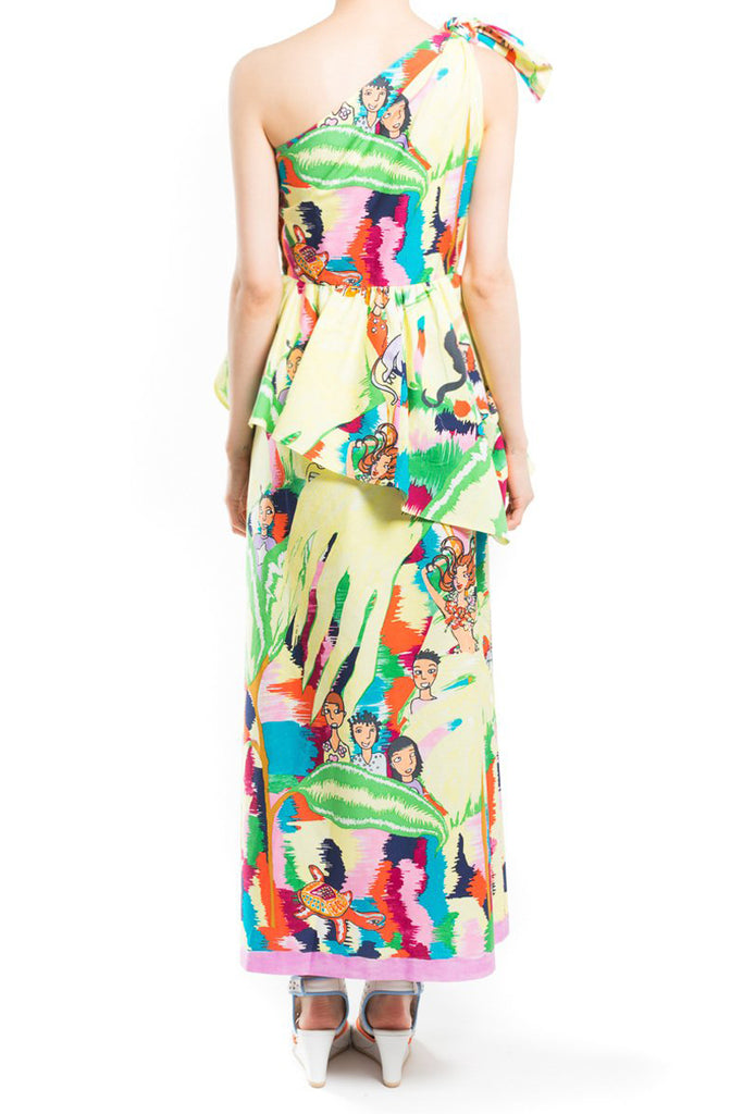 """Colorful Green Print"" Bustier Dress"