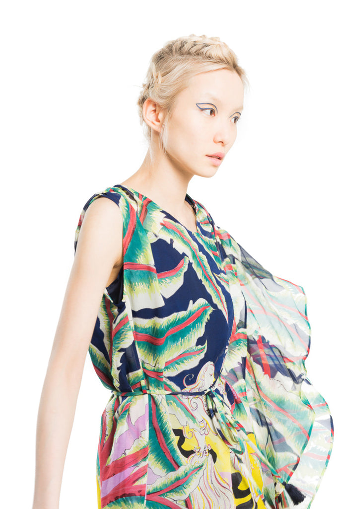 """Aloha Landscape"" Asymmetric Dress"