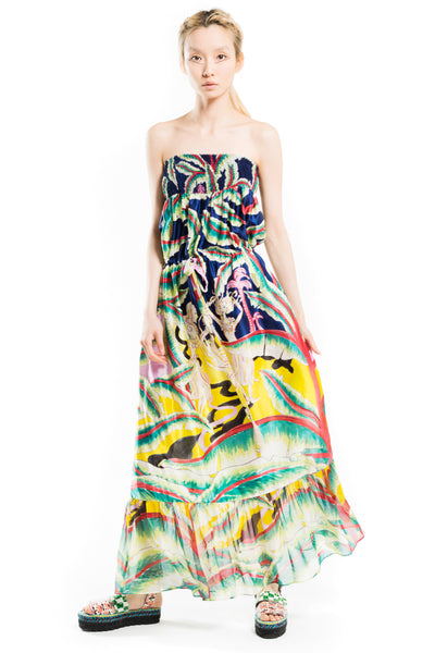"""Aloha Landscape"" Bustier Dress"
