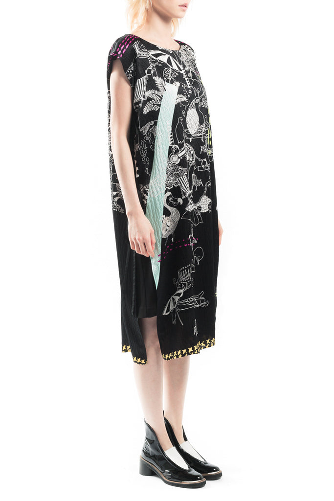 Paradise of Animal Dock Silk Dress