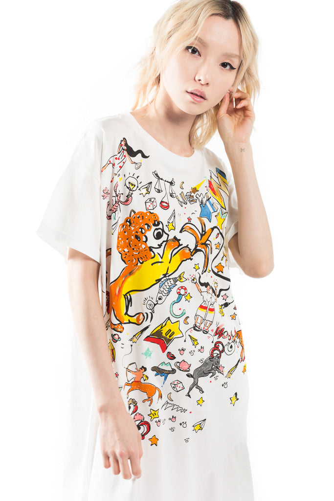 """Horoscope"" Print T-shirt Dress"