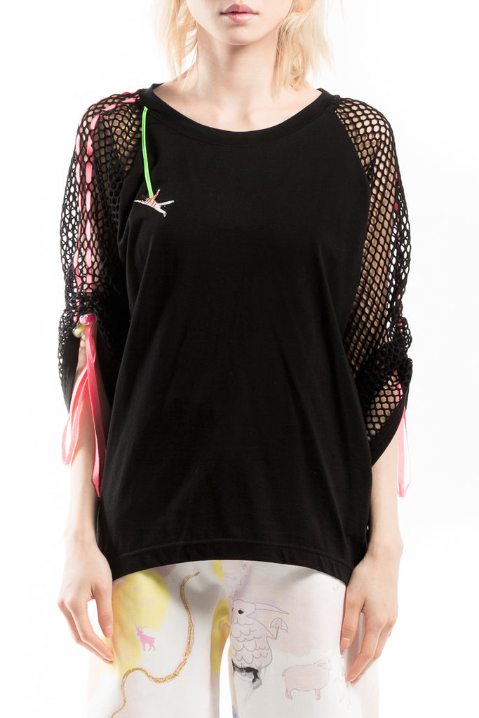 """Happy Bungee"" Mesh Top"