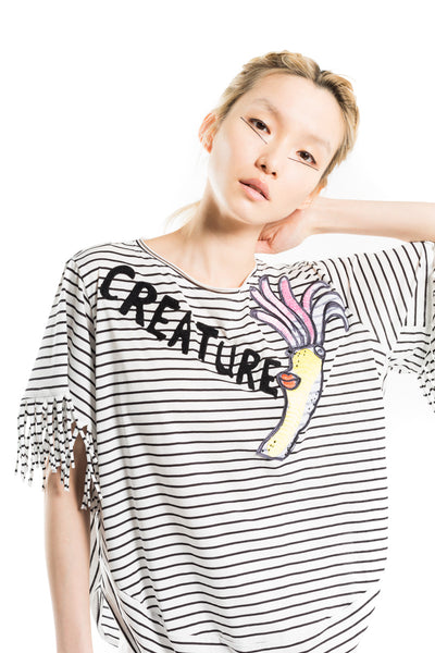 """Fringe Stripe Reef Creature"" Top"
