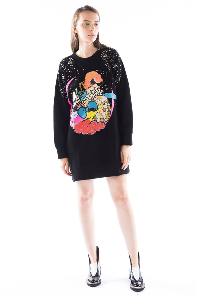 """Cosmo Girl"" Studded Sweatshirt Dress"