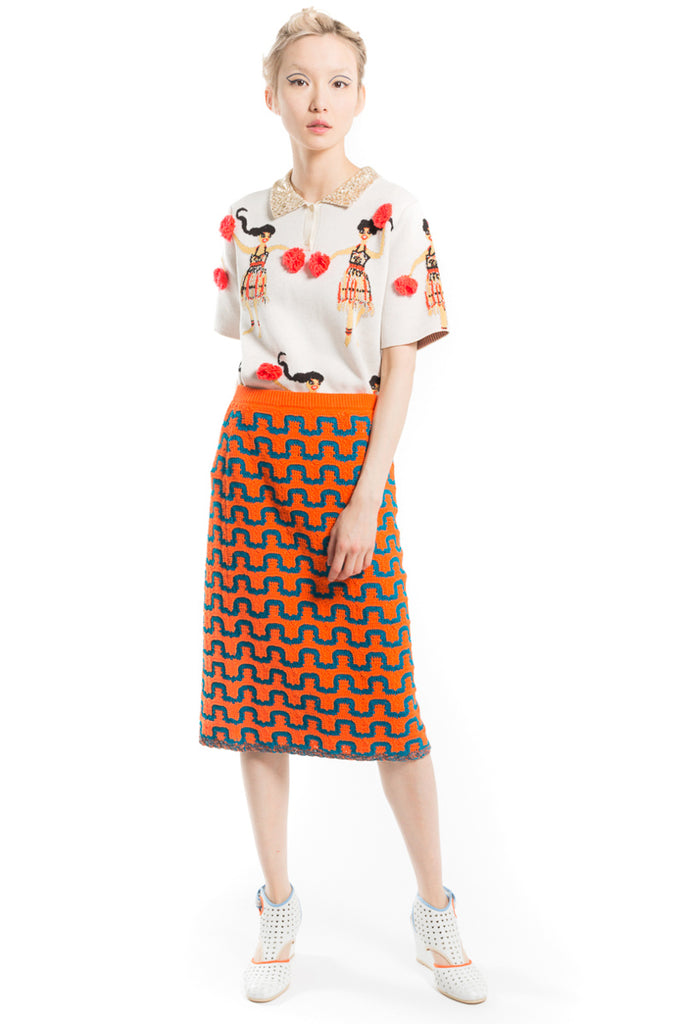 "Cotton Crochet ""Wavy Graphic"" Skirt"