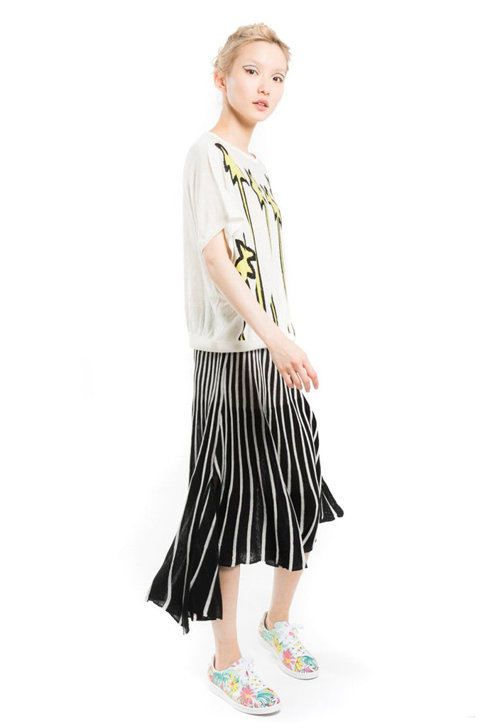 Silk-Linen Blend Pleated Skirt