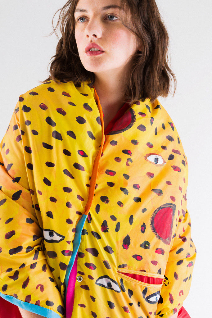 Panther Dot Reversible Light Down Cape