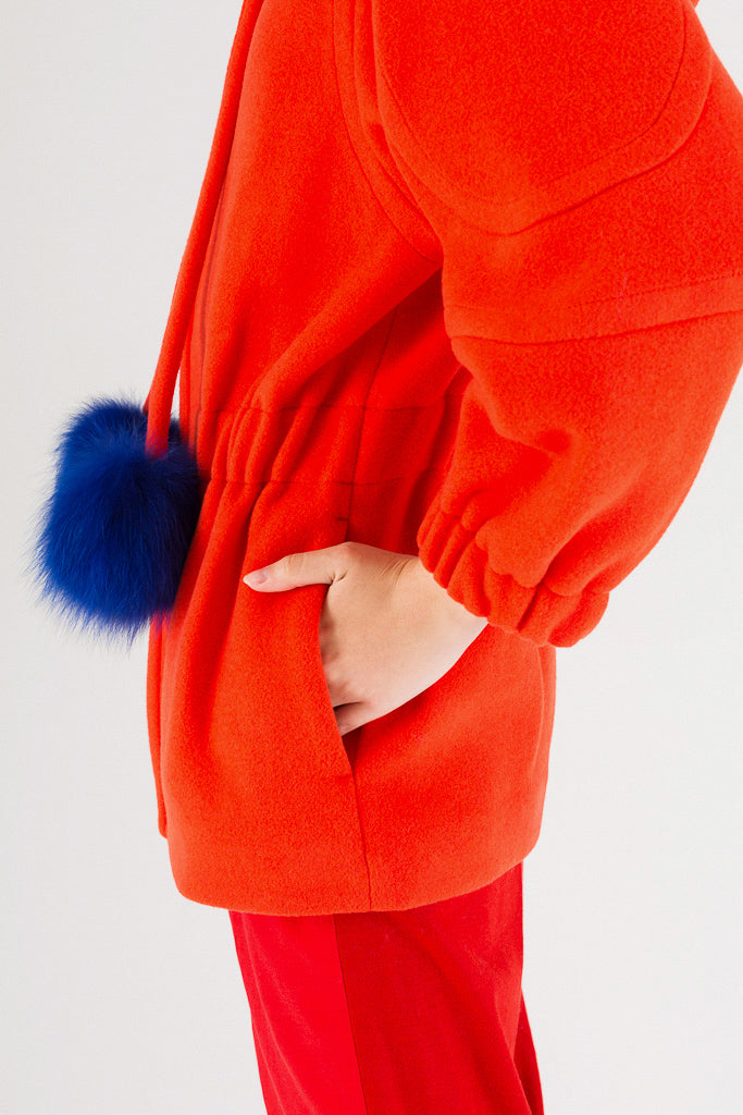 Wool Melton Pompom Jacket