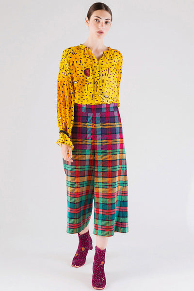 Colorful Plaid Wide Pants