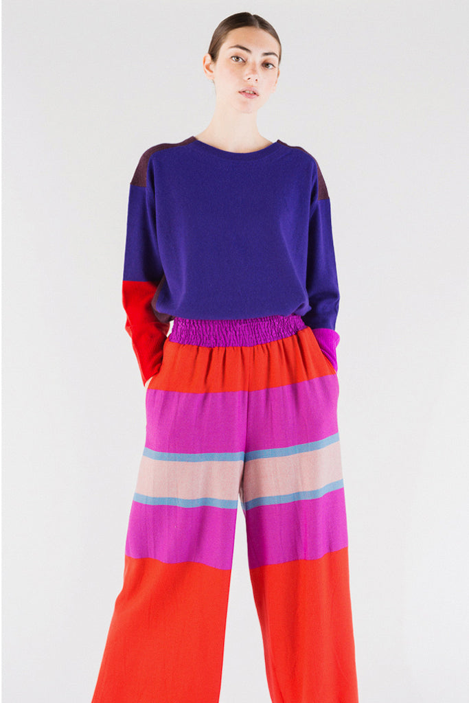Panel Stripe Wool Pants