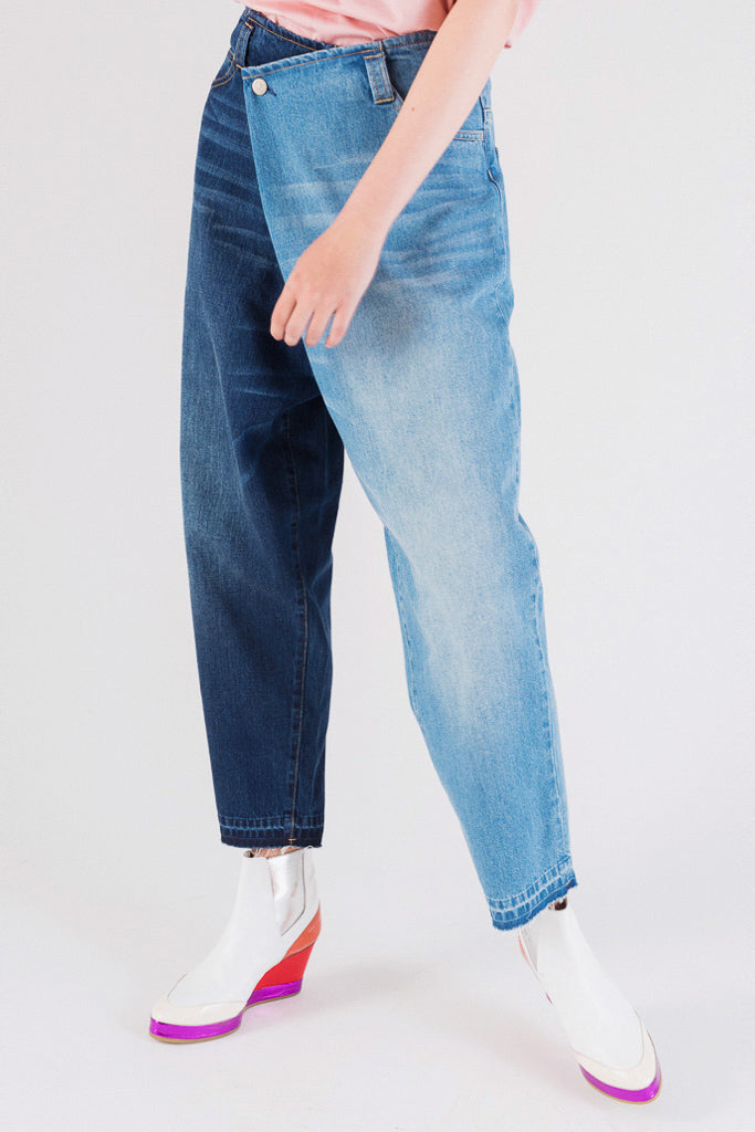 2-colors Switching Denim Pants