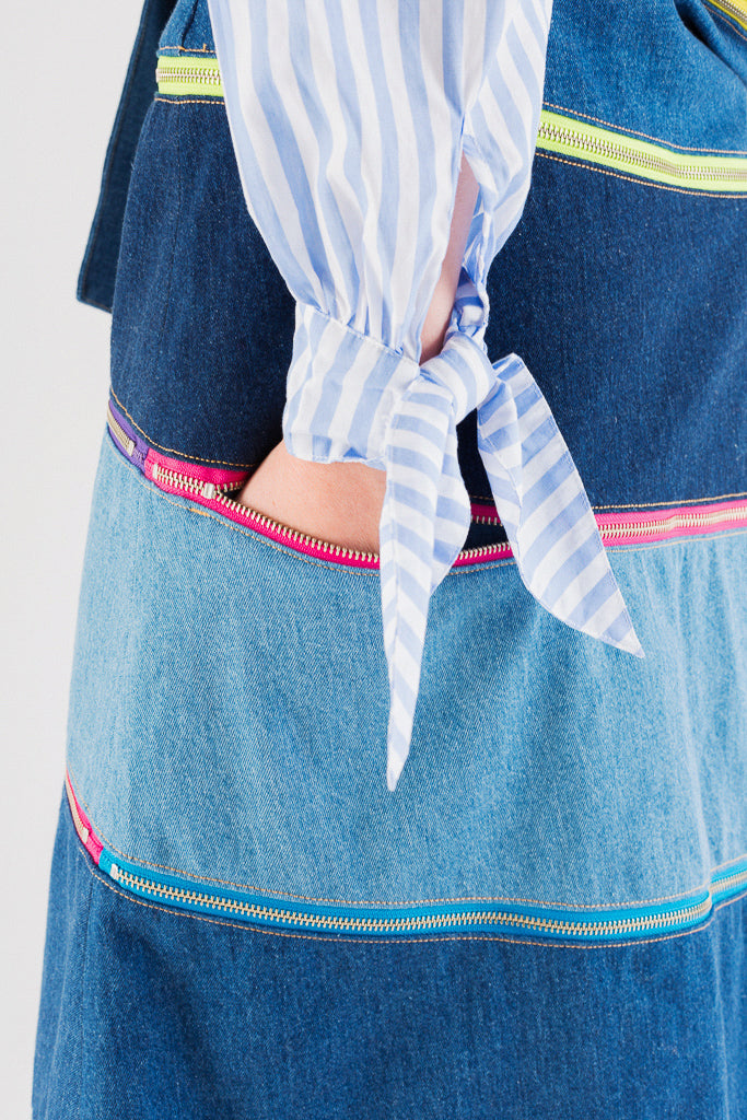 Switching Denim Multi-Zipped Skirt