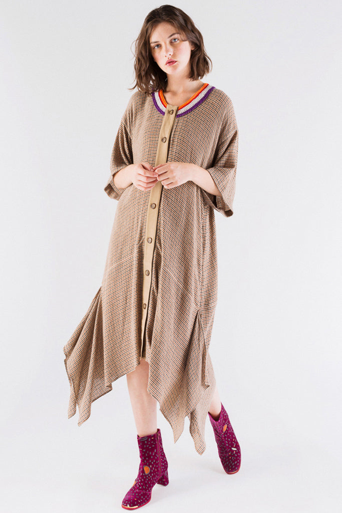 Check Docking Long Dress