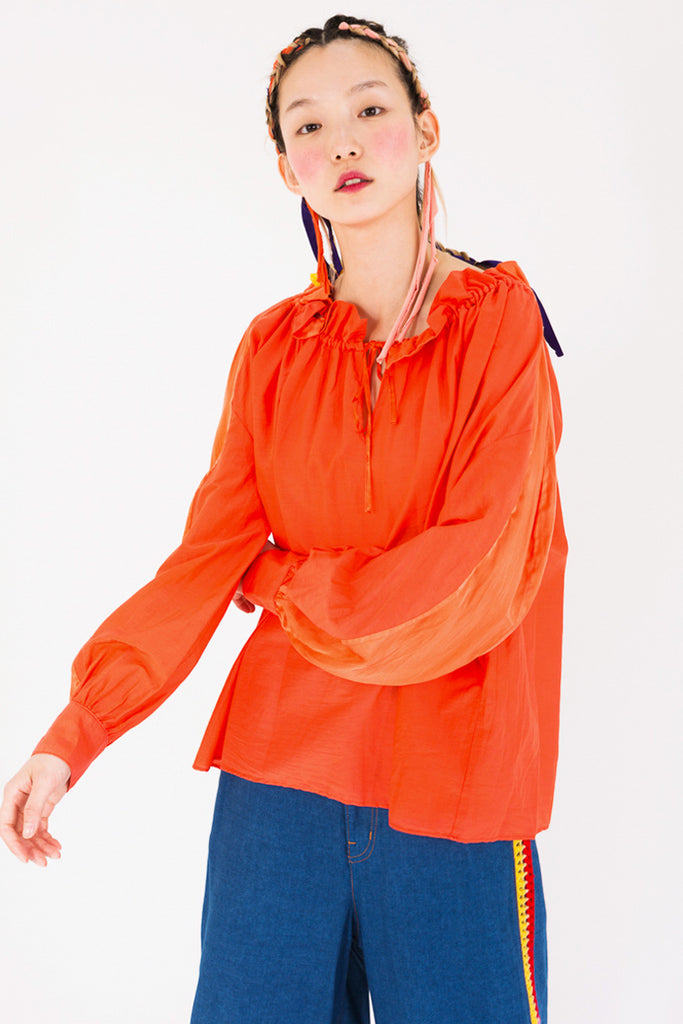 Pleated Cotton Blouse