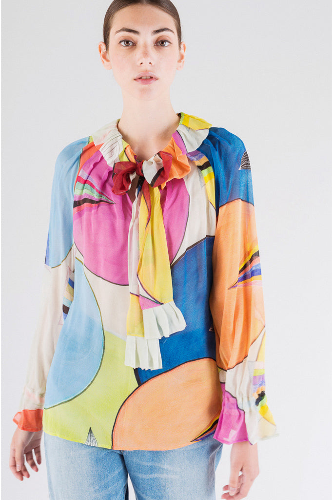Circle Print Chiffon Silk Blouse