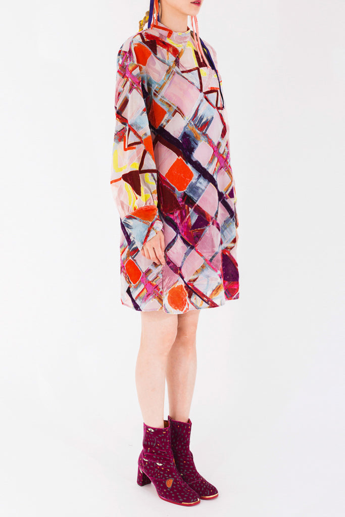 """Hand Painted Plaid"" Dress"