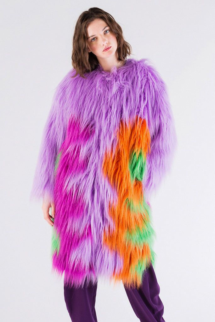 Color Wave Faux-Fur Long Coat