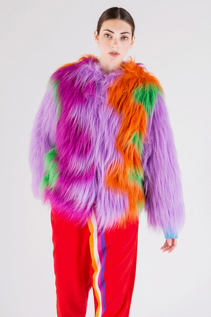 Color Wave Faux-Fur Jacket