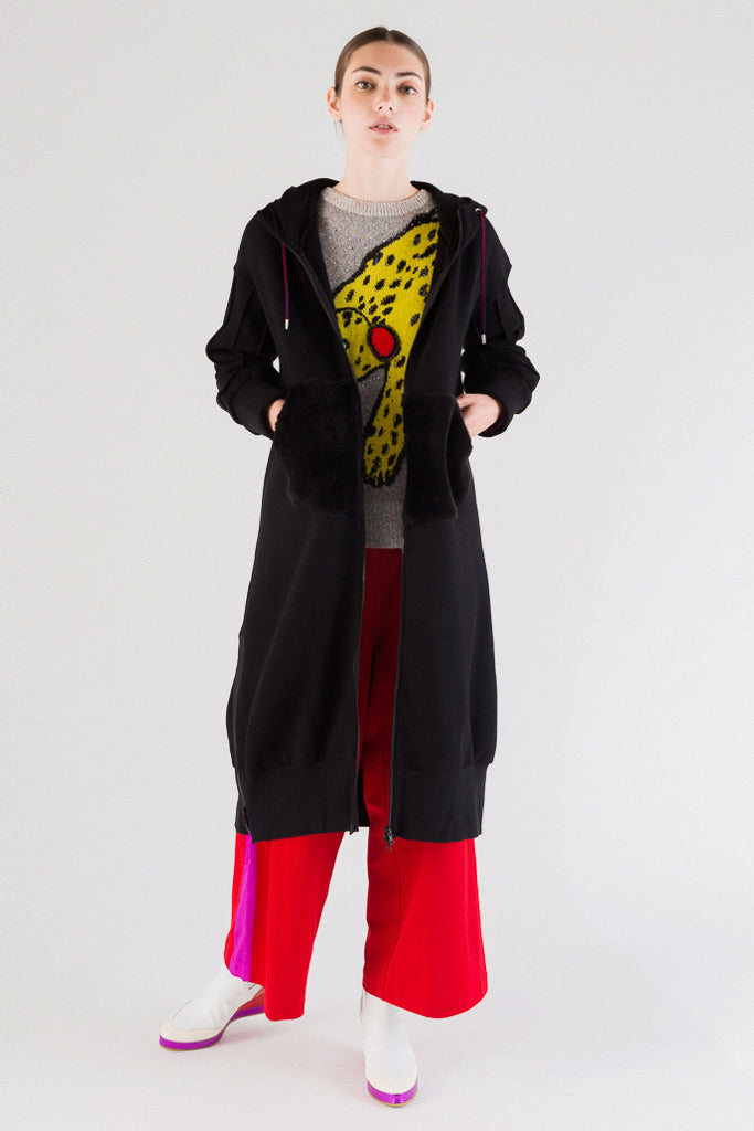 Oversize Sweatshirt Zipped Coat