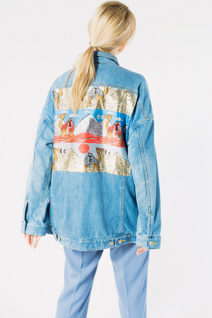 Camel Jacquard Denim Jacket
