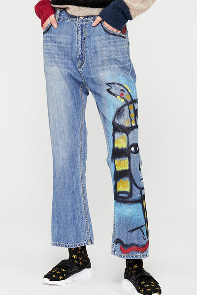 Toutankhamon Painted Denim Pants