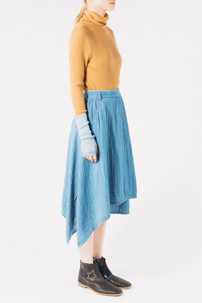 Creperie Denim Culotte Skirt