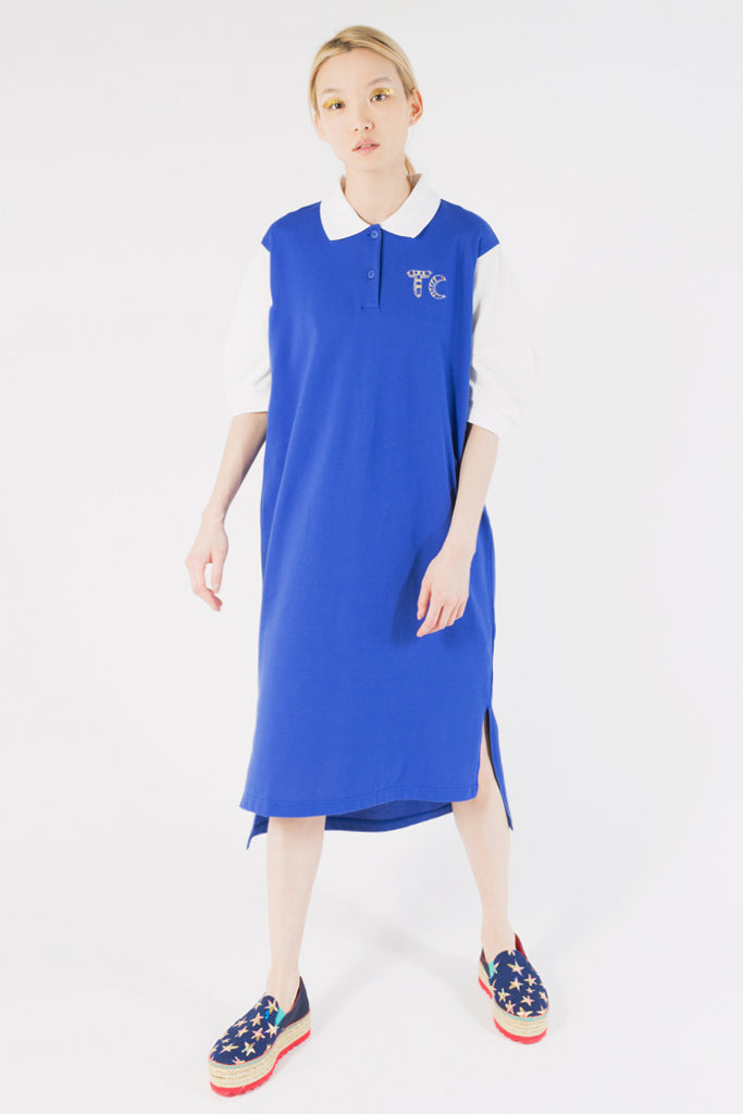 Hieroglyph Embroidery Polo Dress