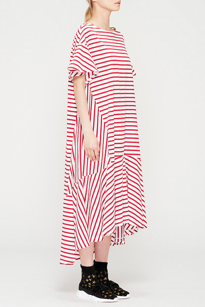 Asymmetric Striped Cotton Dress