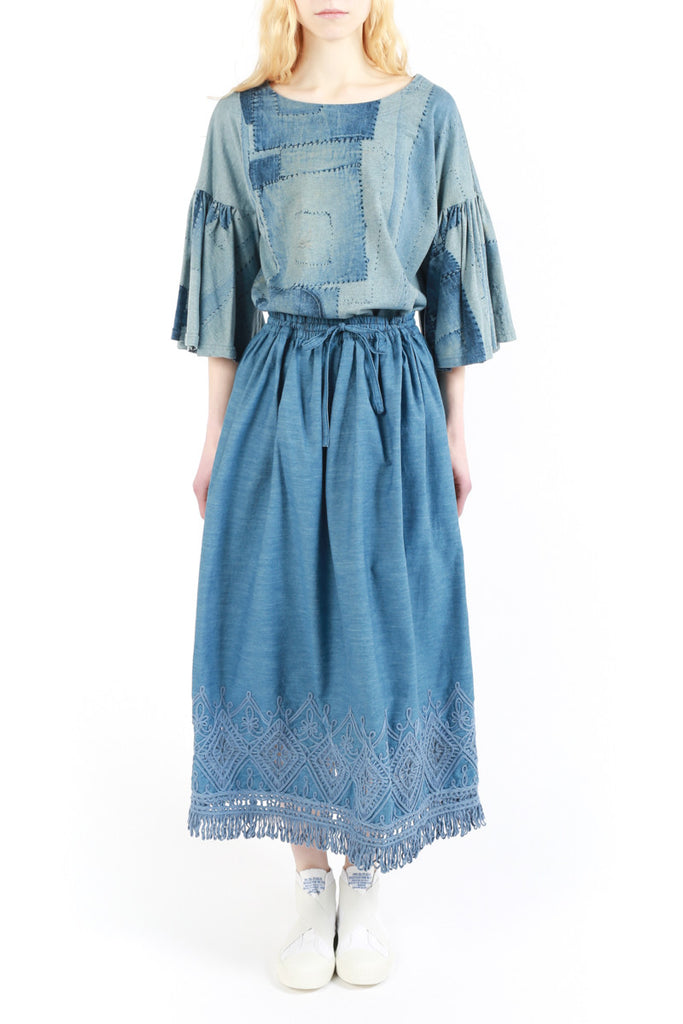 « Denim Fringes » Long Skirt
