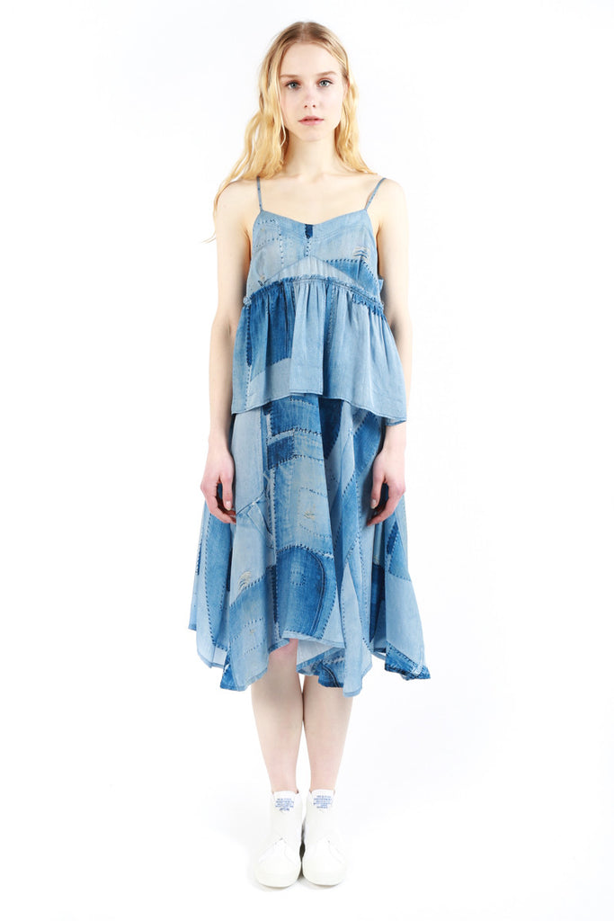 « Denim Patchwork Print » Sleeveless Dress