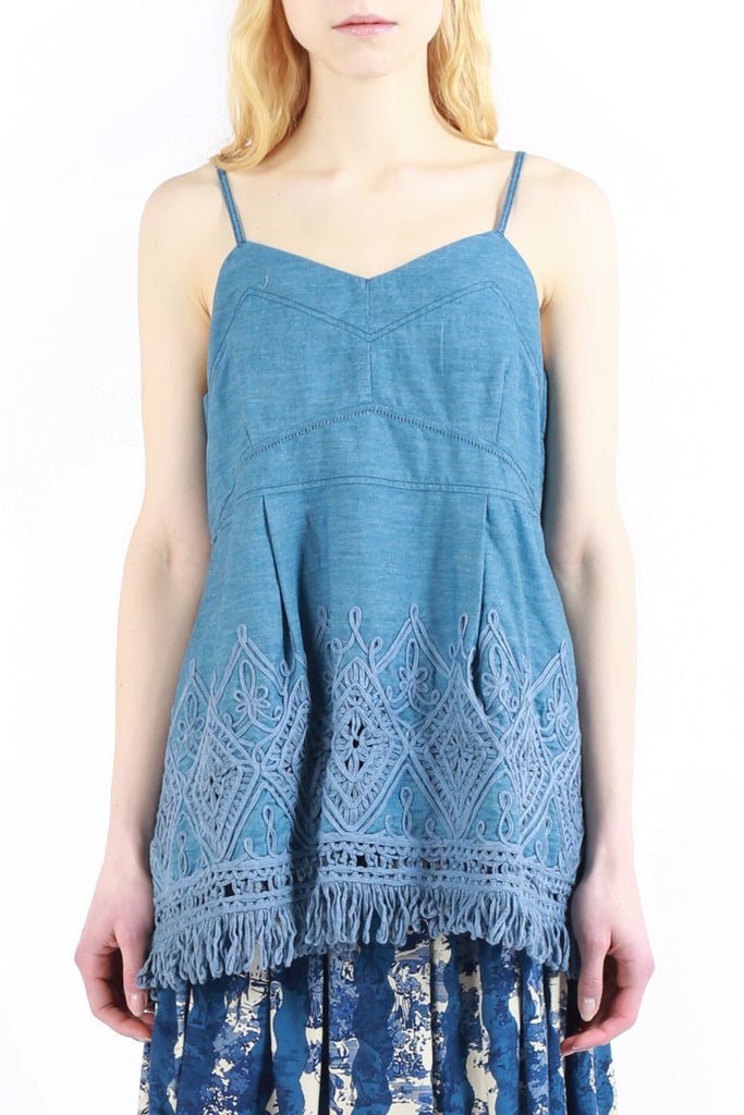 «Denim Fringes» Sleeveless Top