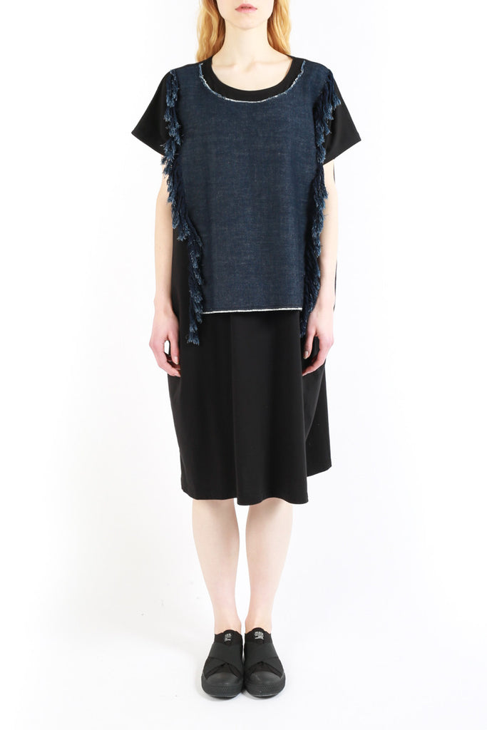 « Denim Fringes » Jersey Dress