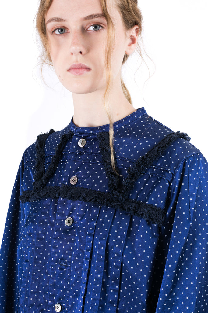 Polka-dot Pleated Shirt