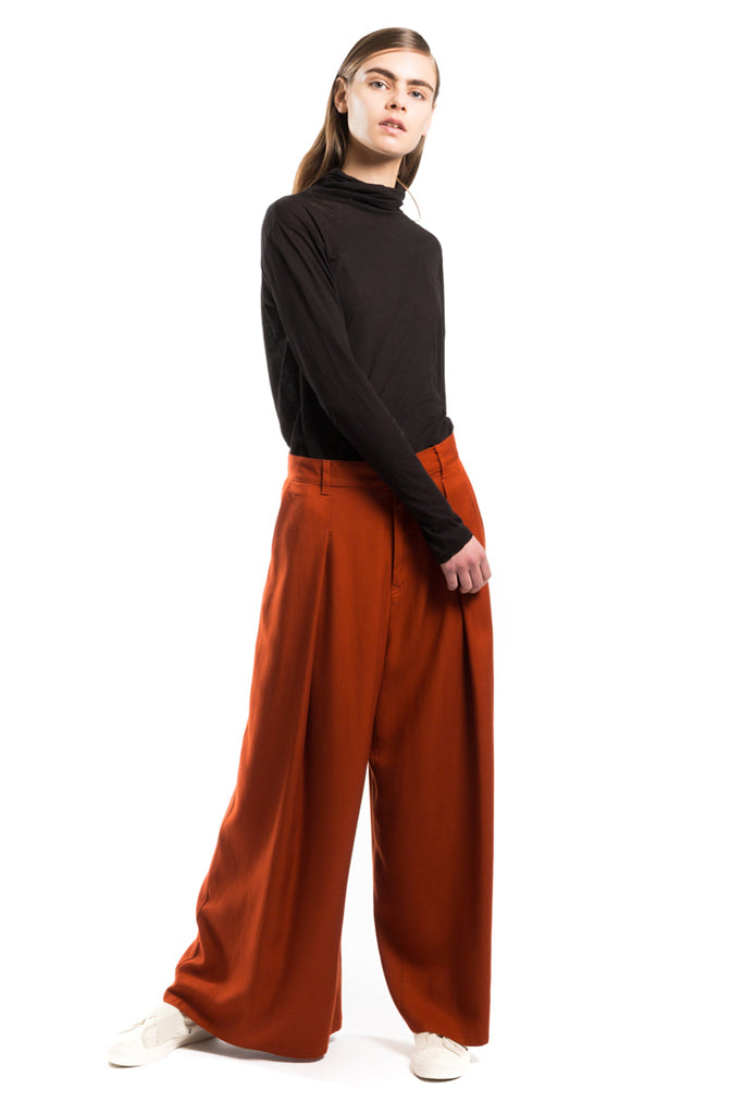 "Wide ""Twill"" Tucked Pants"