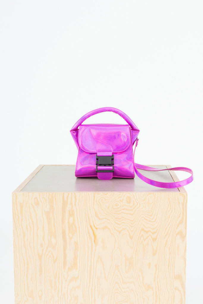 Metallic Pink Small Buckled Bag