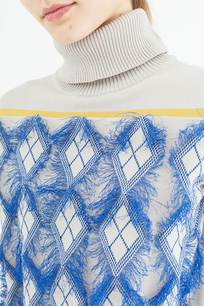 Fringed Jacquard Sweater
