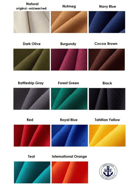 18 oz. Water Repellent Duck Canvas Color Chart